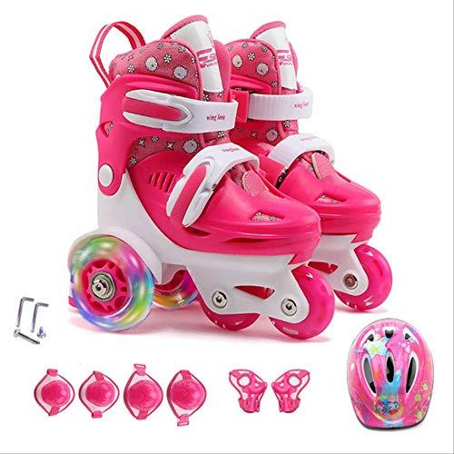 STBB Rollschuhe Aktualisierte Kinder Kinder Schöne Stabile Balance Slalom Parallel Flashed Roller Skate 4 Rollen Schuhe Einstellbar Fall Prävention Rosenset 27-30
