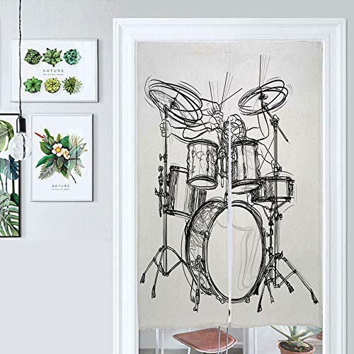 ALUONI Japanese Noren Doorway Curtain/Tapestry, Rock, Doodle Drawing Sketch Style Drummer Musical Inspirations, Cotton Linen, Home Decoration AM027920 39.3 x 59 inches