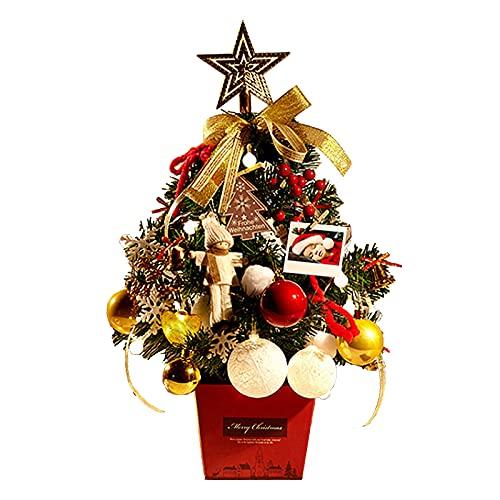 EESLL Árbol de Navidad de escritorio, mini árbol de Navidad artificial, 19.7...