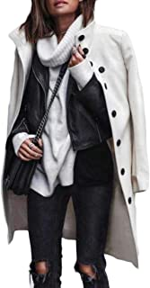 Macondoo Women Stand Collar Autumn Winter Mid Long Coat Warm Wool Blend Overcoat