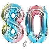 Jrzyhi Globos con número 80 para cumpleaños, arcoíris gigante, número 80, helio, número 80, número XXL, número 80, globos gigantes para cumpleaños, decoración de fiesta de 80 pulgadas