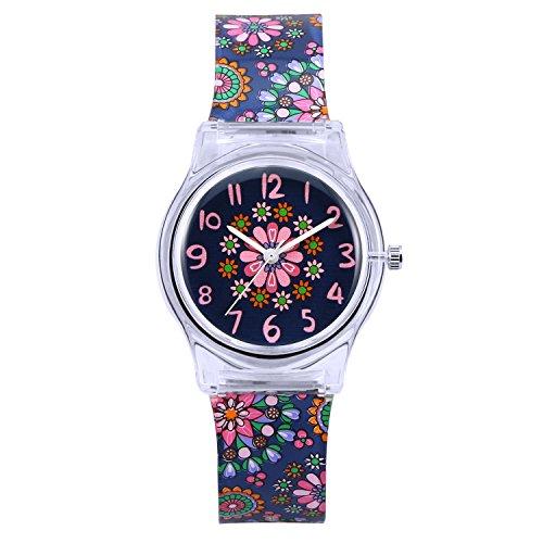 Orologio bambina ragazze Zeiger Orologio impermeabile Time Teacher al quarzo orologi per bambini gemelli ragazze Mini Size per 3-7 anni (Stars)
