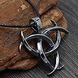Collar De Nudo Celta Colgante Vikingo - Celtic Norse Triple Odin Horns Crescent Moon of Oden Horn...