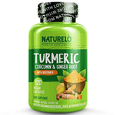 NATURELO Organic Turmeric Powder with Ginger Extract - Added BioPerine for Better Absorption - Best Anti Inflammatory Curcumin Supplement for Joint Pain Relief & Rheumatoid Arthritis - 120 Capsules by NATURELO