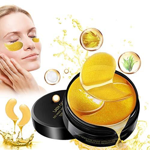 Eye Mask, Augenpads, Anti Aging Pads, 24k Gold Collagen Augenmaske, Feuchtigkeit Eye Patches, für Feuchtigkeit Spendende, Entfernen Augenringe, Feine Linien, Falten, tränensäcke, Puffiness - 60 pcs