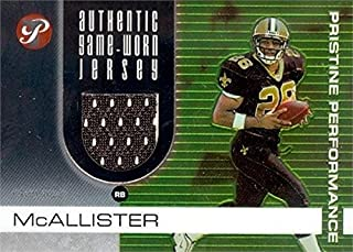 Deuce Mcallister player worn jersey patch football card (New Orleans Saints) 2003 Topps Pristine #PPDM
