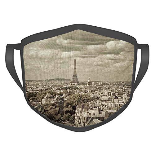 Cómoda máscara a prueba de viento, horizonte de la ciudad de París con Eiffel y nublado oscuro tiempo capital Francia histórico retro, decoraciones faciales impresas para adultos