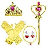 SPECOOL Gilrs Prinzessin Anzieh Zubehör 6 Stück Geschenkset Prinzessin Handschuhe, Tiara Krone und Zauberstab, Halsketten für Kinder (gelb)