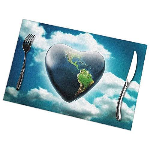 Hao-shop Love Earth hittebestendige placemats, 6-delige set, antislip, wasbaar