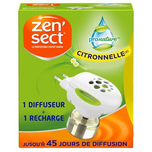 Zen'Sect Moustiques Pro Nature – Diffuseur Electrique + Recharge (45 nuits) – Anti-Moustiques Citronnelle