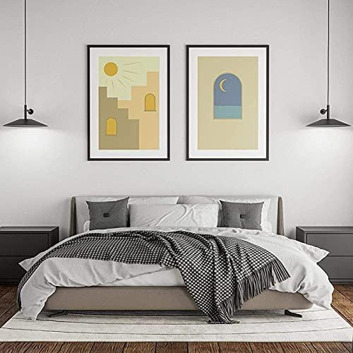 Impresión de imagen Impresión gráfica abstracta Pintura Estilo nórdico Bohemio Cartel Día y noche Imagen de cactus Decoración de la sala de estar 2 piezas 50x70 cm sin marco