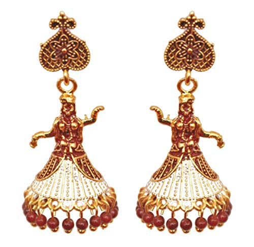 Pahal - Juego de pendientes tradicionales de oro Jhumka de doble tono rojo oscuro y perla de diseñador indio de boda