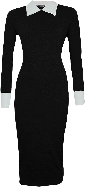 LUSH LANE Womens Long Sleeves Plain Peter Pen Collar Bodycon Midi Dress