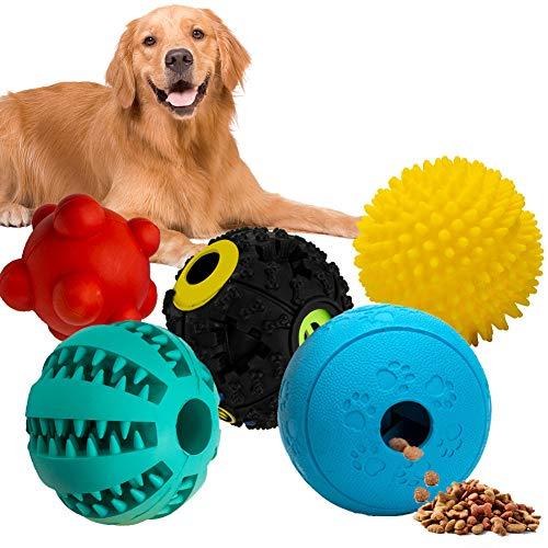 Labeol Hundespielzeug Ball Snackball Zahnpflege Hundebälle Unzerstörbar Futterball Fur Hunde 5 in 1Naturkautschuk Quietschender Intelligenz Spielzeug Kauspielzeug für Große Kleine Hunde