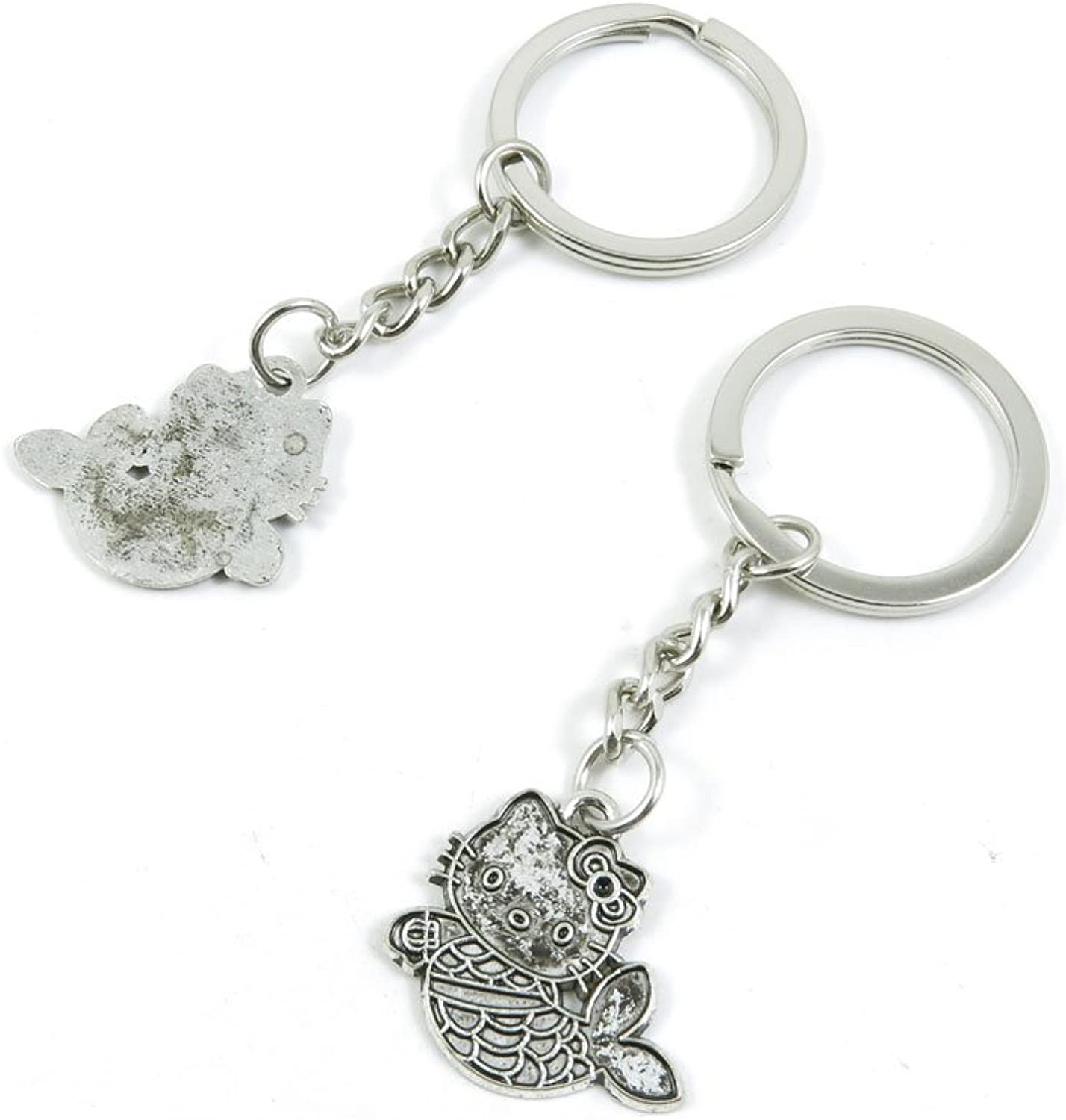 100 Pieces Keychain Keyring Door Car Key Chain Ring Tag Charms Bulk Supply Jewelry Making Clasp Findings G2BF8R Charming Kitty Mermaid