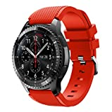 Amcool Für Samsung Gear S3 Frontier, Sport Einstellbar Bunt Soft Silikon Armband Strap Bands Armbänder (Rot, Für Samsung Gear S3 Frontier)