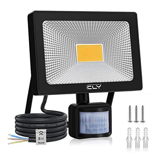 CLY Faretto LED 30W 3000LM con sensore di movimento, IP66 Faretto LED luminoso impermeabile IP66 Faretto LED 3000K per esterno per giardino, terrazza, patio