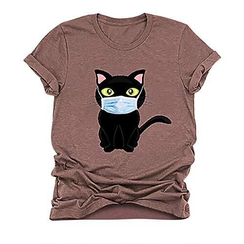 Junjie T-shirt à manches courtes imprimé chat pour femmes Cartoon O-neck Blouses Tops Bleu, Vert, Rose, Vin, Jaune S-5XL