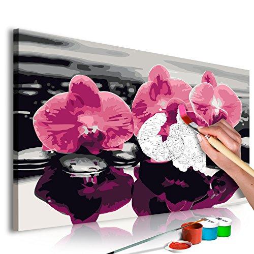 murando Pintura por Números Cuadros de Colorear por Números Kit para Pintar en Lienzo con Marco DIY Bricolaje Adultos Niños Decoracion de Pared Regalos - Orquídea 60x40 cm - DIY n-A-0276-d-a