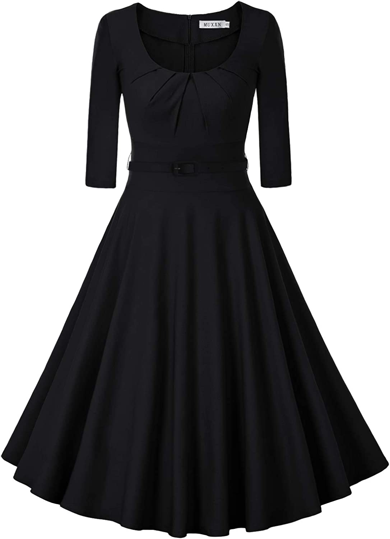 MUXXN Women's 1950s Vintage Scoop Neck 3/4 Sleeve Pleated Swing Cocktail Dress