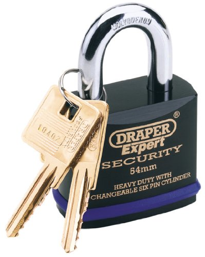 Draper 64193 Expert Heavy Duty Padlock and 2 Keys with Super Tough Molybdenum Steel Shackle, 54 mm