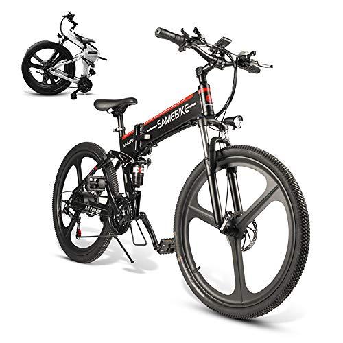 Coolautoparts Bicicleta Eléctrica PLEGABLE 350W/500W 26 Pulgadas 32km/h para Hombres Mujeres de Aluminio Bicicleta de Montaña/Carretera con 48V 10AH Batería Removible Shimano 21 Velocidades [E