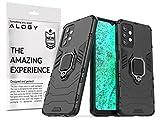 Alogy Funda para Samsung Galaxy A32, color negro, con correa, anillo de 360 grados, carcasa de silicona negra, protege tu teléfono de daños.