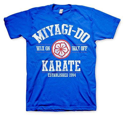 Karate Kid Licencia Oficial Miyagi-Do Karate 1984 Camiseta Hombre Media Manga (Azul)...