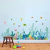decalmile Pegatinas de Pared Algas Marinas Rodapié Adhesivos Pared Bajo el Mar Peces Vinilos Decorativos Bebé Niños Habitación Baños