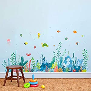 decalmile under the sea seaweed wall corner decals fish jellyfish ocean grass baseboard skirting line wall stickers baby bedroom bathroom living room wall decorfinished width 48 inches