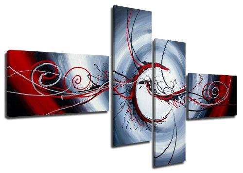 Quadro su tela handpainted look 160 x 70 cm 4 tele modello nr XXL 6516. I quadri sono montati su telai di vero legno. Stampa artistica intelaiata e pronta da appendere