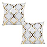 WOMHOPE 2 Pcs - 17' Geometry Gold Hot Stamping Super Soft Short Fuzzy Cushion Decorative Pillow Covers Square Throw Pillowcase Cushion Covers for Sofa,Bed (Grey & Gold (2 Pcs))