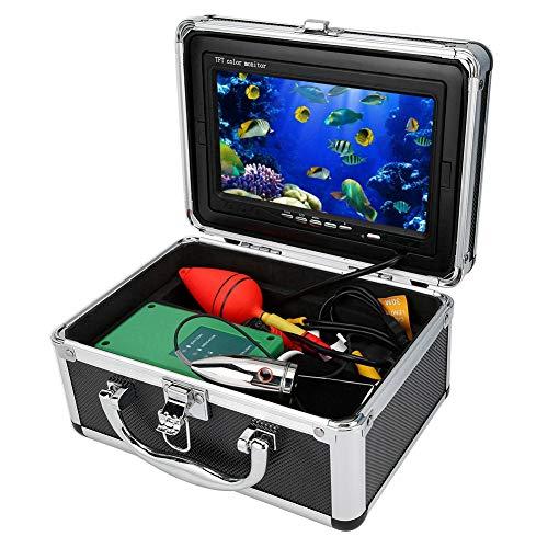 Cámara de Pesca Subacuática TFT 1000TVL HD de 7 Pulgadas, IP68 A Prueba de Agua, Cámara de Video DVR Subacuática con LED Blanco de 6 Piezas IR con Cable de 50M y Disparo de ángulo Amplio(EU)