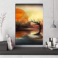 """キャンバス画像霧と夕日の下の枯れた木ポスターとプリントウォールアートリビングルーム寝室の家の装飾23.6"""" x35.4""""(60x90cm)フレームレス"""