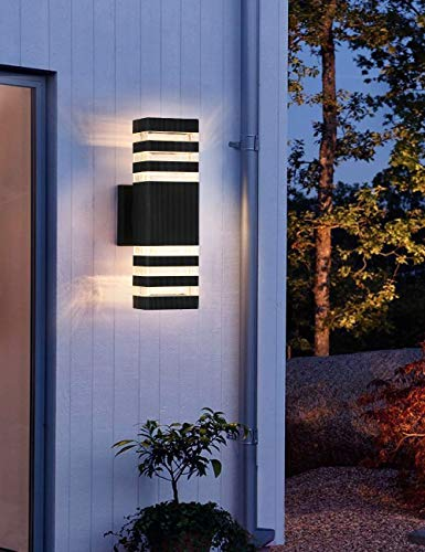 LED Up and Down Outdoor Wall Light 12W 3000K Warm White, Outdoor Waterproof LED Wall Lamp as Porch Light Fixture Waterproof Exterior Light Fixtures for Entryways, Yards (Light Source Include)