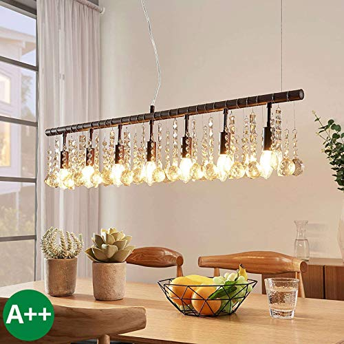 Lampenwelt Pendelleuchte 'Matei' dimmbar (Für Kinder, Junges Wohnen) in Braun aus Kristall u.a. für Wohnzimmer & Esszimmer (7 flammig, E14, A++) - Deckenlampe, Esstischlampe, Hängelampe, Hängeleuchte