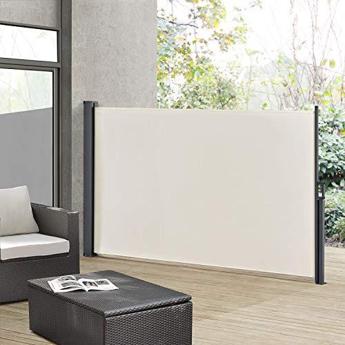 ArtLife Seitenmarkise Dubai 180 x 300 cm ausziehbar Blickdicht, Sichtschutz & Windschutz für Balkon & Terrasse, Seitenrollo mit Wandhalterung - beige