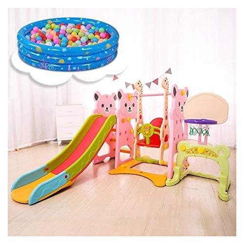 RVTYR Toboganes for niños de Interior, Estructuras multifunción Juego se Puede Utilizar con Swing, Puerta de fútbol, Canasta de Baloncesto, Bate de béisbol, Piscinas de Bolas tobogan Infantil