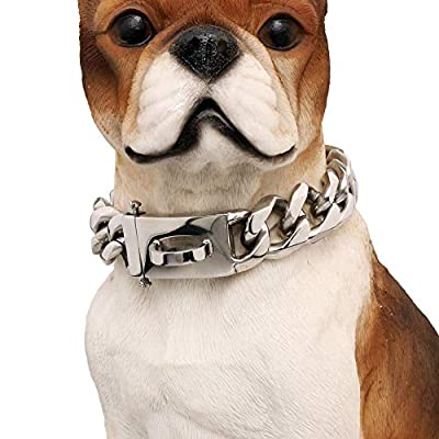 WJH Heavy Duty Choke Cuban Chain?19mm Width,18K Gold Dog Collar with Safety Lock,Strong Stainless Steel Metal Links Slip Chain Training Collar for Large Medium Dogs (Silver(Width:19mm), 18inch)