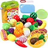 Liberty Imports Realistic Kitchen Fruits Vegetables Play Food Cutting Set for Kids...