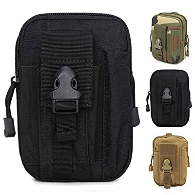 ZhaoCo Multi-Purpose Poly Tool Holder, Tactical Molle EDC Pouch Utility Gadget Belt Waist Bag with Cell Phone Holster for Sports Hiking Camping - Black from ZhaoCo