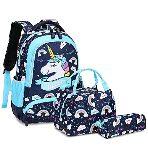 Zaino Scolastico Ragazza Bambina Scuola Elementare Zainetti Bambini Zainetto Girls School Backpack Set per la Scuola Borsa (Blu)