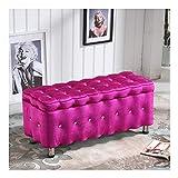 RKRLJX Baúl Puff Taburete for Almacenaje De Almacenamiento Largo Multifunción Estar Dormitorio Corredor Banco otomano (Color : Pink, Size : 80x40x40cm)