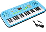 M SANMERSEN Kids Piano Keyboard, Music Keyboard for Beginners Musical Pianos with LED Display Electronic Keyboards 37 Keys Educational Music Instrument Toys for 3-12 Years Old Girls Boys (Blue)