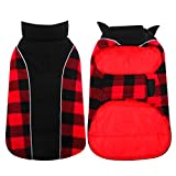 Kuoser Reversible Dog Cold Weather Coat, Reflective Waterproof Winter Pet Jacket, British Style Plaid Dog Coat Warm Cotton Lined Vest Windproof Outdoor Apparel for Small Medium and Large Dogs M