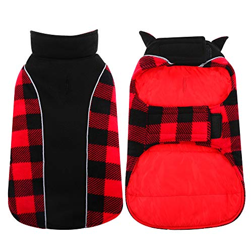 Kuoser Reversible Dog Cold Weather Coat, Reflective Waterproof Winter Pet Jacket, British Style Plaid Dog Coat Warm Cotton Lined Vest Windproof Outdoor Apparel for Small Medium and Large Dogs XS
