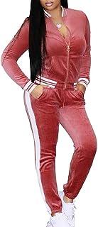 Womens Casual Velvet Jacket and Sweatpants Basic Active Tracksuit Set Wine Red US Large