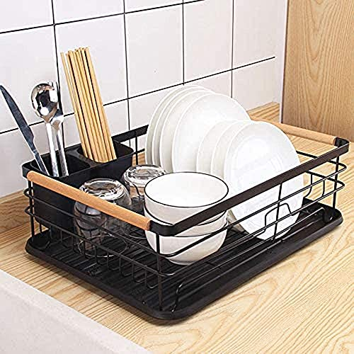COVAODQ Dish Drying Rack, drip tray, 1-Tier Dish Rack, cutlery stand with drip tray, 43 × 32 × 16 cm (black)