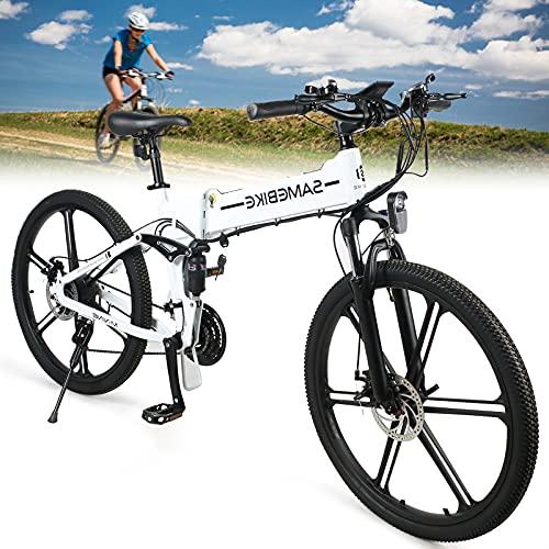 Bicicleta Eléctrica de Montaña, Bicicleta Eléctrica Plegable de 500W 48V 10Ah, Batería de litio 48V10AH, Bicicleta Eléctrica para la Nieve en la Playa, Velocidad Máxima de Viaje de 35 km/h,White