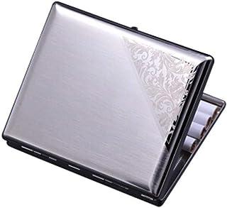 LONGWDS Caja de cigarro Pitillera de Acero Inoxidable, Tallado Ultra-Delgada de Metal Genuino Fumar 16 luz Creativa de los...